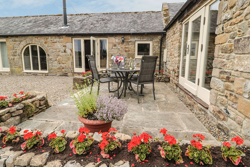 The outside patio at Gallow Law Cottage