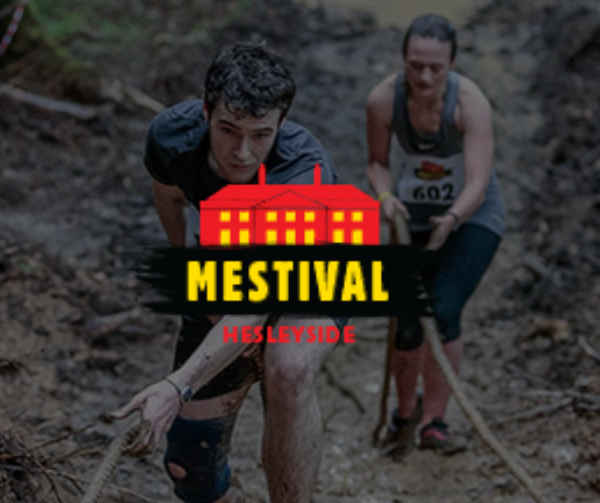 Endurance runners covered head to toe in mud, overlaid with the Mestival logo.